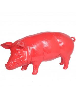 Statue en résine cochon rouge (Thomas) - 97 cm