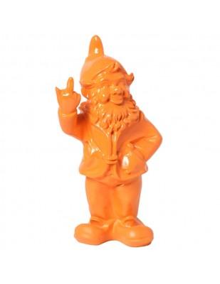 Statue en résine NAIN de jardin doigt d'honneur orange - 33 cm