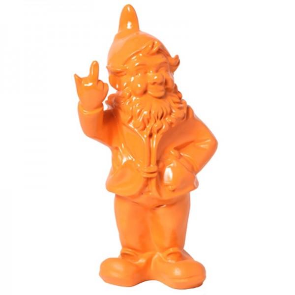 Statue en r sine nain de jardin doigt d 39 honneur orange 33 cm - Statue de jardin en resine ...