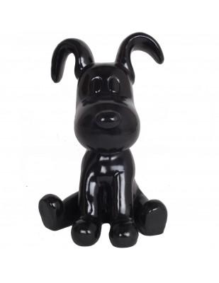 Statue chien Snoopy noir en résine - 28 cm