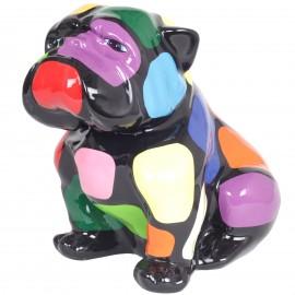 Statue en résine chien bouledogue anglais assis multicolore (Maxime) - 40 cm