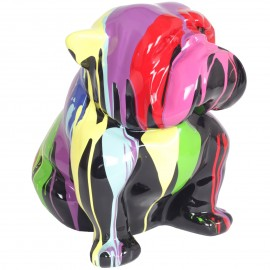 Statue en résine chien bouledogue anglais assis multicolore (Luc) - 40 cm