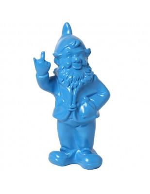Statue en résine NAIN de jardin doigt d'honneur bleu - 33 cm