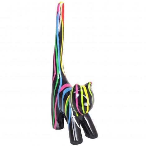 Statue chat multicolore (Polo) en résine fond noir - 34 cm