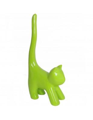 Statue chat vert pomme en résine (Alizé) - 34 cm