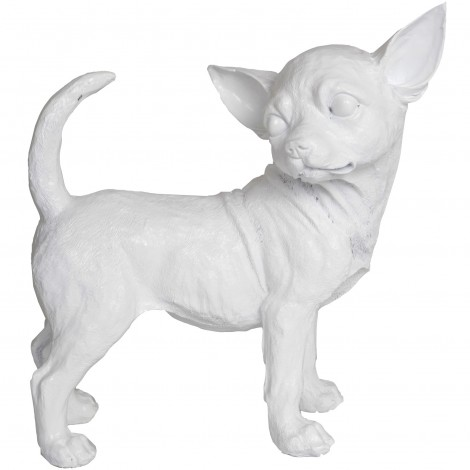 Statue chien chihuahua blanc - 30 cm