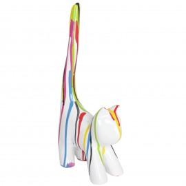Statue chat multicolore (Xavier) en résine fond blanc - 34 cm