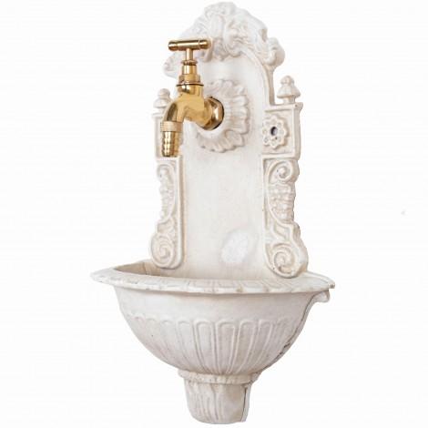 Fontaine murale en fonte blanche avec son robinet en laiton - 39 cm