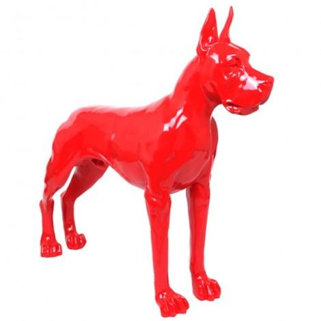 Statue en résine CHIEN dogue allemand rouge - 120 cm