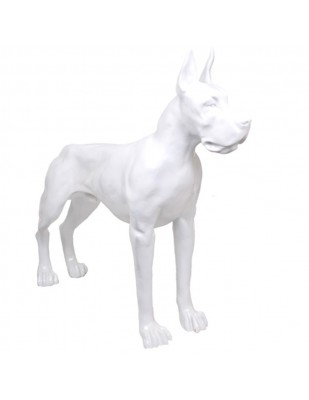 Statue en résine CHIEN dogue allemand blanc - 120 cm