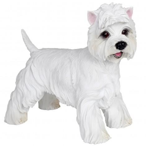 Statue chien westie blanc en résine - 40 cm