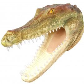Statue trophée tête de crocodile murale couleurs naturelles  - 71 cm