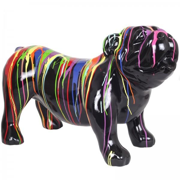 statue r sine chien bouledogue anglais multicolore fond noir 94 cm. Black Bedroom Furniture Sets. Home Design Ideas