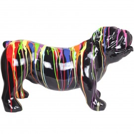Statue en résine chien bouledogue anglais multicolore fond noir (Firmin) - 94 cm