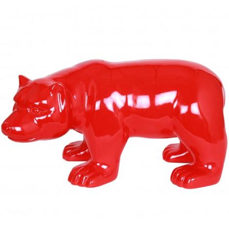 Statue en résine ours rouge (Didier) - 52 cm