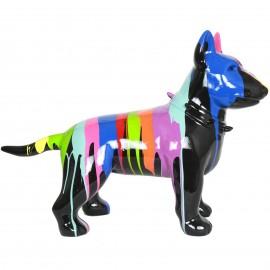 Statue chien bull terrier multicolore en résine (Romuald) - 60 cm