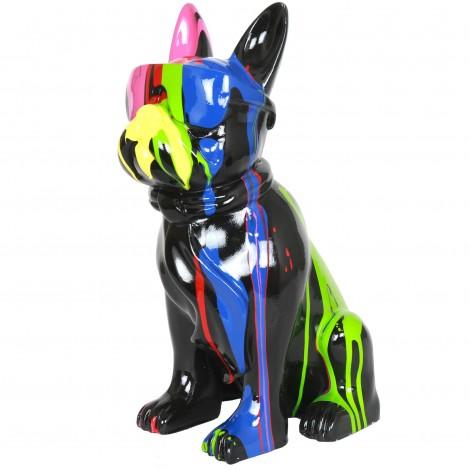 Statue chien bouledogue Français à lunette multicolore en résine (Roger) - 37 cm