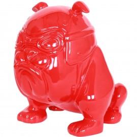 Statue chien bouledogue Anglais motard rouge en résine (Florent) - 26 cm