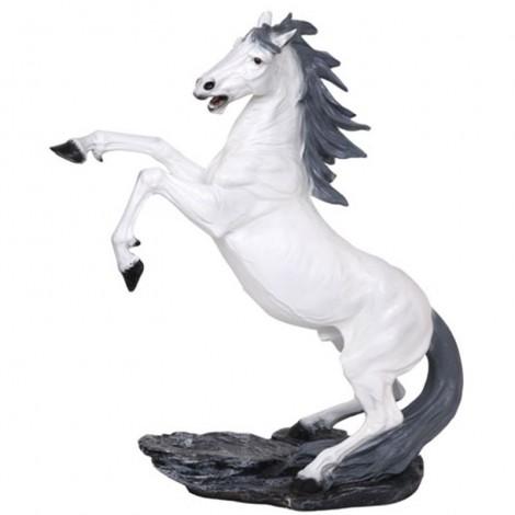 Statue en résine CHEVAL cabré blanc - 90 cm