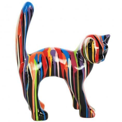 Statue en résine CHAT multicolore - 45 cm