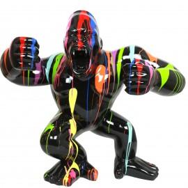 Statue en résine Donkey Kong gorille singe debout multicolore fond noir (Adam) - 120 cm