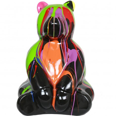 Statue en résine ours assis multicolore fond noir (Jules) - 70 cm