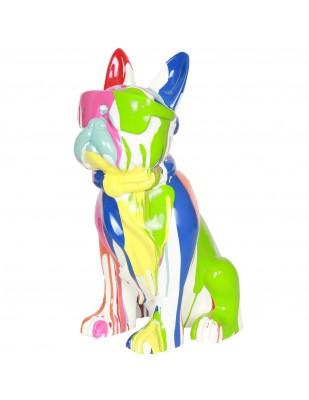 Statue chien bouledogue Français à lunette multicolore fond blanc en résine (Raoul) - 37 cm