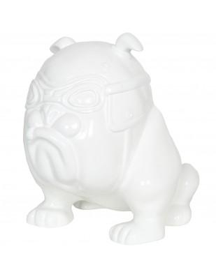 Statue chien bouledogue Anglais motard blanc en résine (Félix) - 26 cm
