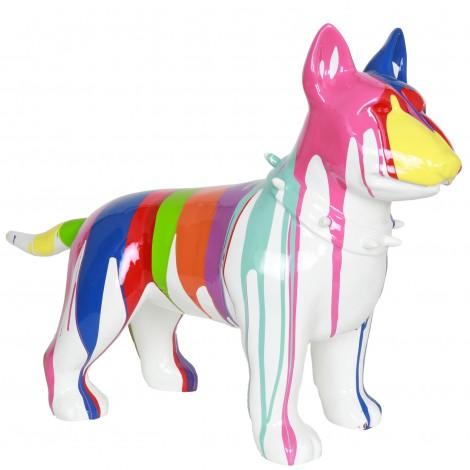 Statue chien bull terrier multicolore en résine (Raoul) - 60 cm