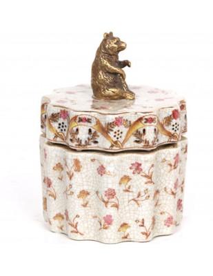 Boite en faïence craquelée, coffret, boite a bijoux avec statue ours en bronze -14 cm