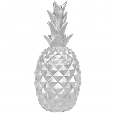 Statue ananas argenté en résine - 65 cm