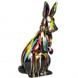 Statue en résine Lapin multicolore fond noir (Julien) - 107 cm