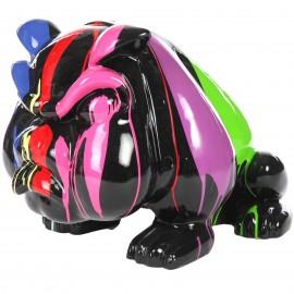 Statue en résine chien bouledogue anglais multicolore fond noir avec collier (Marc) - 77 cm