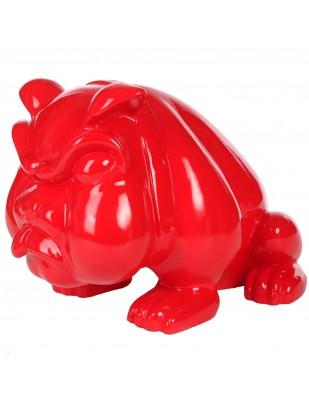 Statue en résine chien bouledogue anglais rouge avec collier (Marcel) - 77 cm