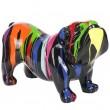 Statue en résine chien bouledogue anglais multicolore fond noir (Félix) - 85 cm