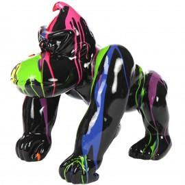 Statue en résine Donkey Kong gorille singe multicolore fond  noir (Paolo) - 70 cm