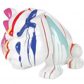 Statue en résine chien bouledogue anglais multicolore fond blanc avec collier (Bob) - 77 cm