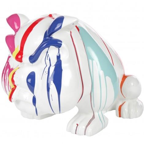 statue en r sine chien bouledogue anglais multicolore blanc 77 cm. Black Bedroom Furniture Sets. Home Design Ideas