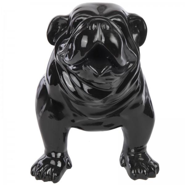statue en r sine chien bouledogue anglais noir 58 cm. Black Bedroom Furniture Sets. Home Design Ideas