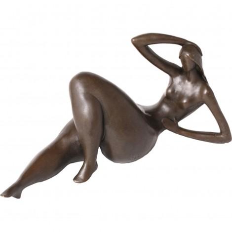 Statue érotique en bronze femme ronde allongée nue - 24 cm