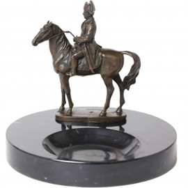 Statue en bronze et marbre cendrier napoléon à cheval - 20 cm