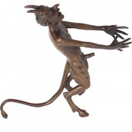Statue érotique en bronze diable nu en équilibre sur sa queue - 19 cm