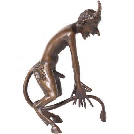 Statue érotique en bronze diable nu penché sur l'avant - 15 cm