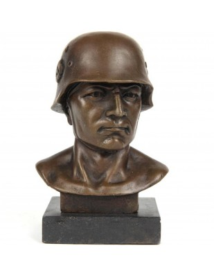 Statue en bronze tête de soldat - 15 cm