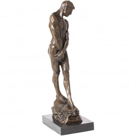 Statue érotique en bronze homme nu qui cache son sexe - 49 cm