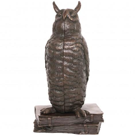 Statue érotique à système en bronze femme nue dans un hiboux - 20 cm