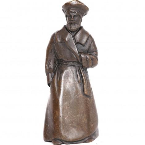 Cloche de table en bronze clochette sonnette statue homme Russe - 9.5 cm