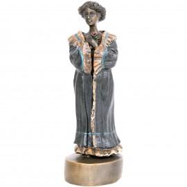 Statue érotique à système en bronze femme nue sous sa robe - 17 cm