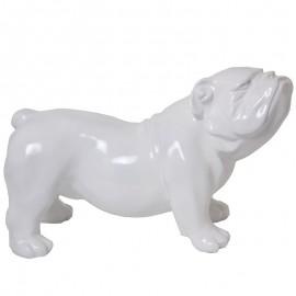Statue en résine chien bouledogue anglais blanc aspect lisse - 60 cm