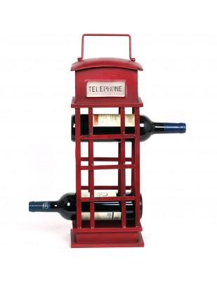 Porte-bouteille cave à vin en fer cabine téléphonique anglaise - 55 cm
